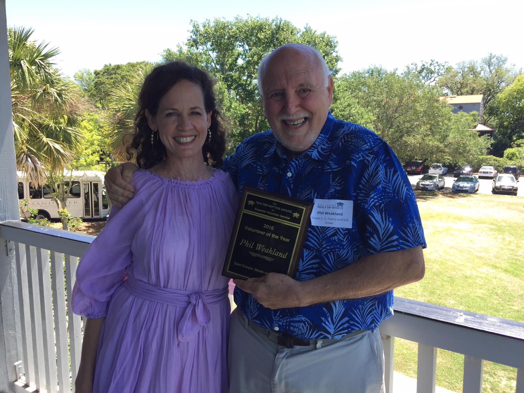 Volunteer Manager Kelley Chapman with Phil Weakland, Volunteer of the Year 2016
